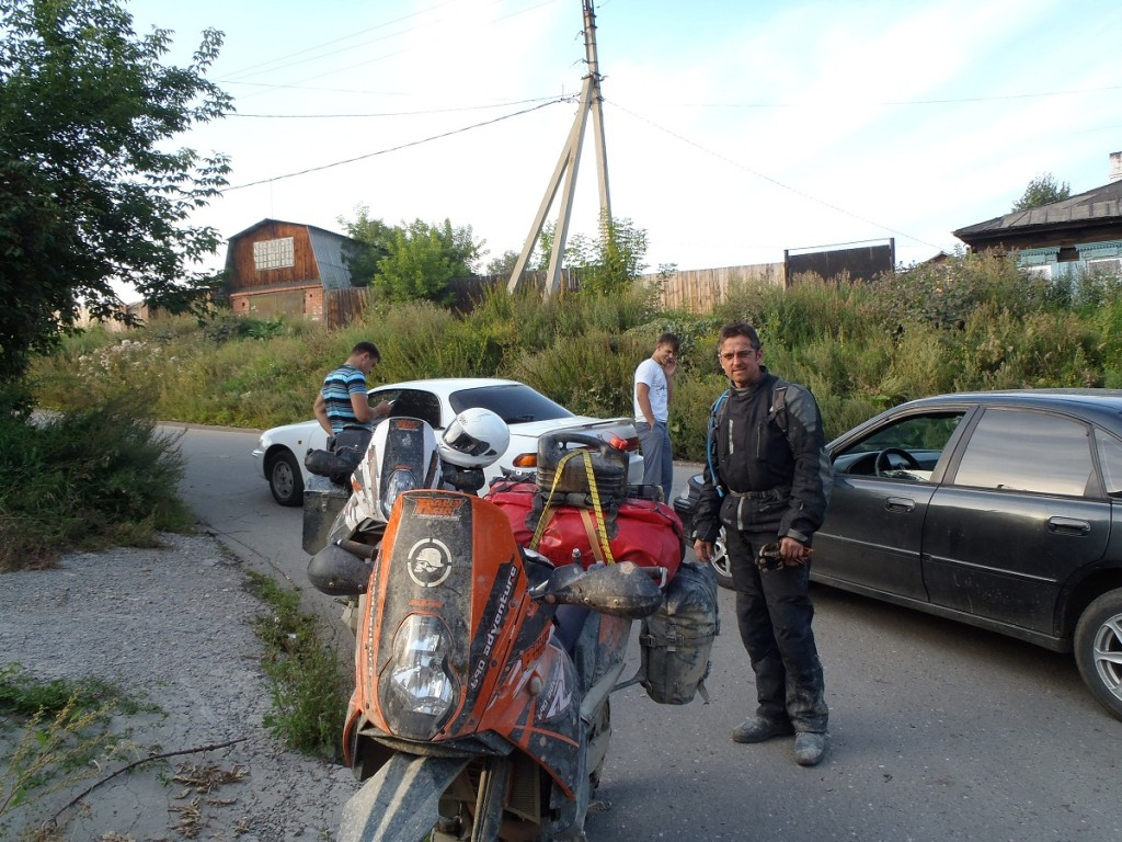 Outside the old Irkutsk biker HQ.