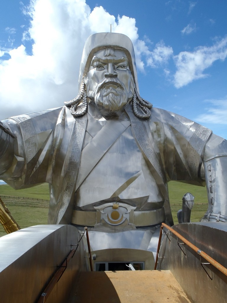 Genghis statue face from the maine of his horse