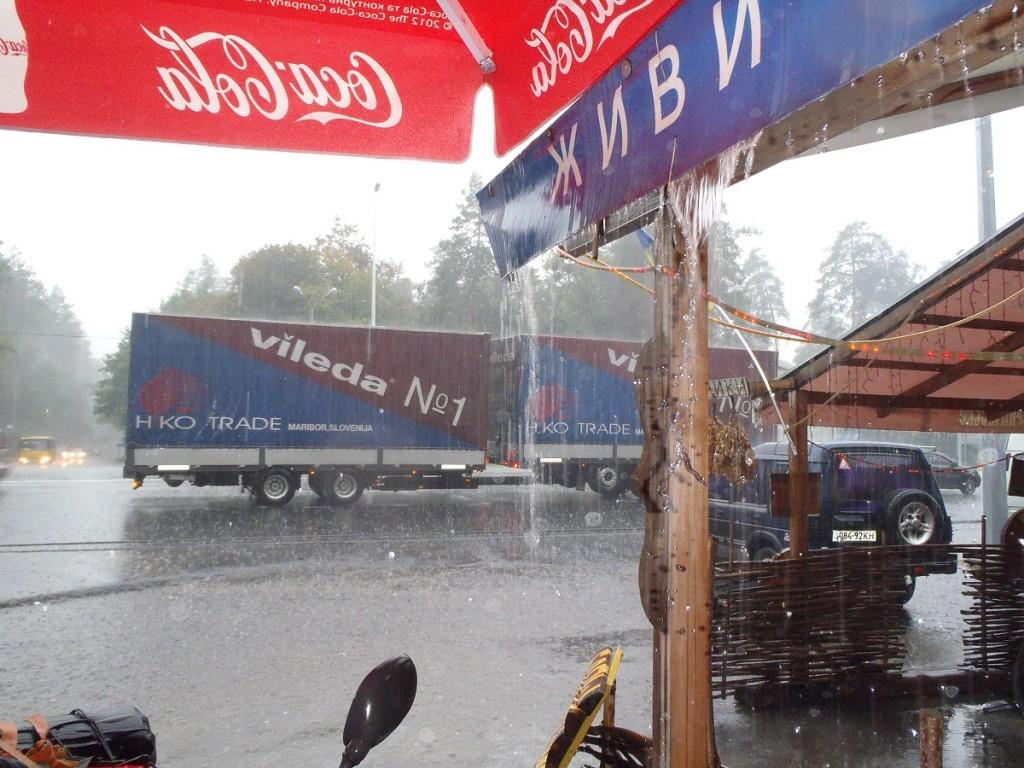 Kiev cafe raining