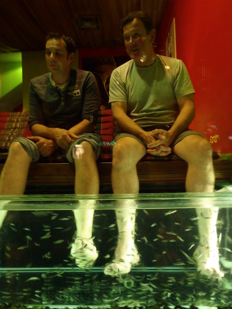 Kev and Ned getting their feet cleaned in Prague.